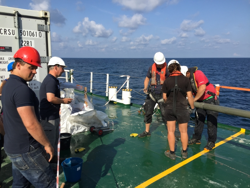 6_Coring sampling on deck of Stril explorer